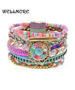 WELLMORE women bracelet Leather bracelets bohemia colorful beaded charm ... - $14.99