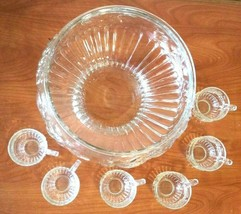 Glass Embossed Fruit Punch Bowl 6 Cups Clear Large Party Decor Servingware - $24.75