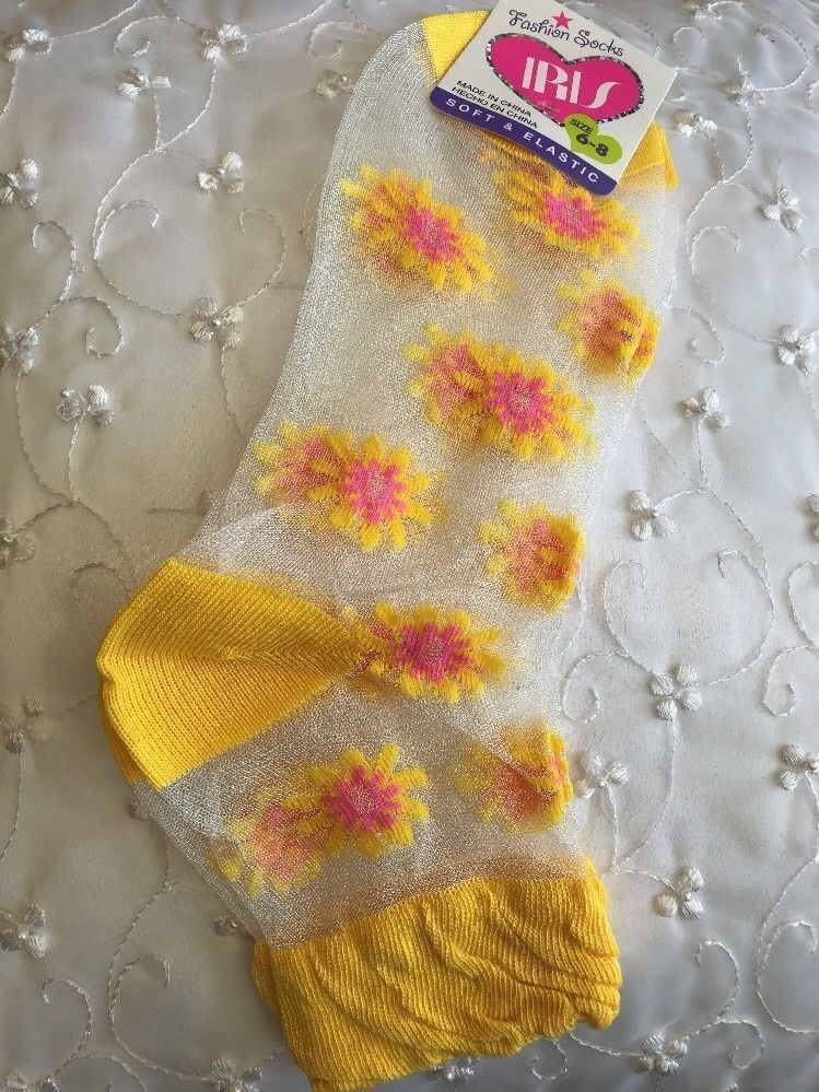Women Girl Soft Elastic Ankle Socks Foot Wear Yellow Small Flowers Mesh Size 6-8
