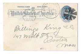 UX11 Postal Card 1894 North Woodstock NH to Boston Fancy Cancel Geometri... - $16.00