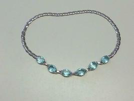 "Vintage Jeray Rice Weiner Topaz Blue Rhinestone Silver tone Necklace 15.5"" - $43.70"