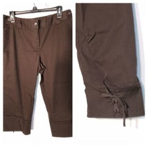 Ann Taylor Loft Size 12 Marisa Dress Pants Capri Brown Lace Up - $24.19
