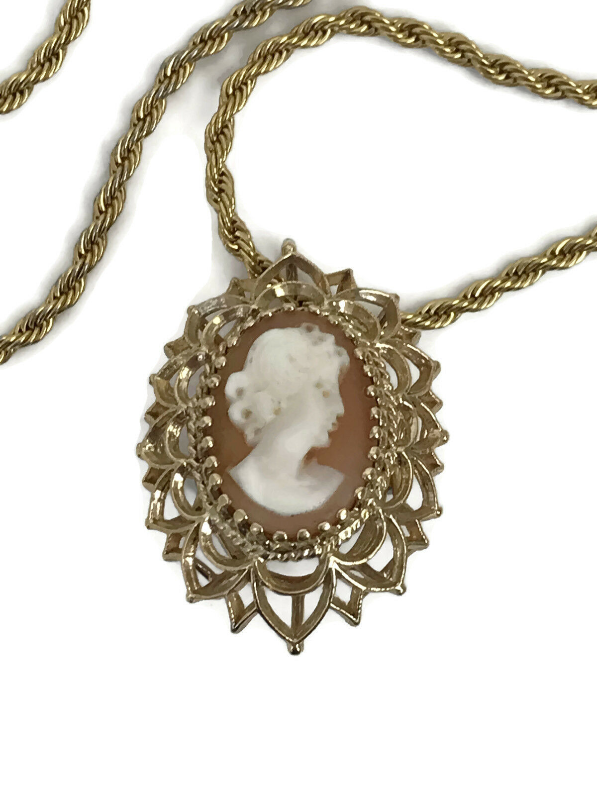 "Primary image for Vintage Trifari Cameo Pendant Brooch 29"" Goldtone Chain Estate Costume Jewelry"
