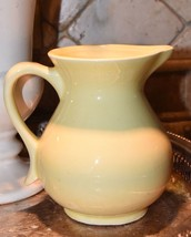 "Pale Yellow Pottery Pitcher Vintage Vase Gloss Finish Mid Century Cl EAN 5.5"" H - $34.99"