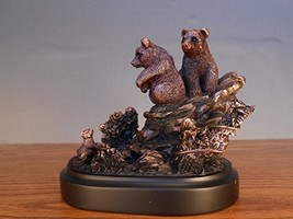 Marian Imports F13025 2 Bear Cubs Bronze Plated Resin Sculpture