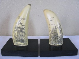 Pair of Vintage Large Faux / Resin Whale Tooth Folk Art Ship Scrimshaw B... - $149.95