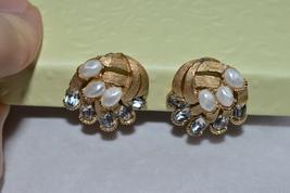 Vintage Crown Trifari Rhinestones/Pearls Clip-On Earrings-1950-60-Like New - $40.99