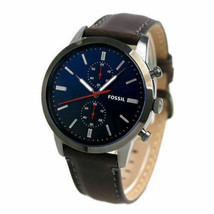 Mens Fossil Townsman Blue Dial Brown Leather Strap Chronograph Watch FS5378 - $79.60