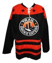 Custom Name # Trail Smoke Eaters Hockey Jersey New Black Corcoran Any Size image 1