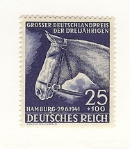 1941 Race Horse Germany Postage Stamp Catalog Number B191 MH