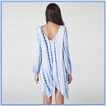 Loose Irregular Hem Tie Dye Long Sleeve Deep V Neck Lace Up Eyeletts Mini Dress image 2