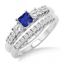 1.5Ct Sapphire & Sim Diamond Elegant Three Stone Bridal Set on 14k White Gold - $99.99