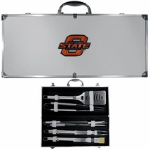 oklahoma state cowboys 8 pc tailgater stainless steel bbq set with metal... - $126.34