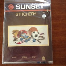 "SUNSET STITCHERY 'All Star' Sports Crewel  Kit Frame 10x20"" 2602 NEW - $11.89"