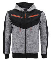 Men's Fleece Zipper Moto Quilt Zip Up Hoodie Drawstring Sweater Jacket Slim Fit image 2
