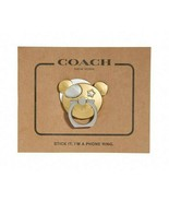 NWT COACH Bear Phone Grip iPhone Android LG Pixel Cellular Cute Gold F36... - $19.80