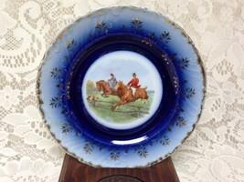 Antique, Rare, Victoria, Austria, Flow Blue Equestrian 6in Saucer - $23.70