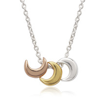 Tri color tiny crescent Women's .925 Silver Necklace - $54.99