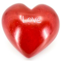 """Vaneal Group Hand Carved Soapstone 2-Sided Red """"Love"""" Heart Paperweight image 2"""
