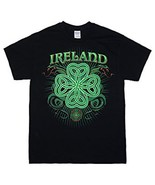 IRELAND 4 LEAF CLOVER UNISEX MEN OR WOMEN'S BLACK COTTON T-SHIRT NEW - $6.75
