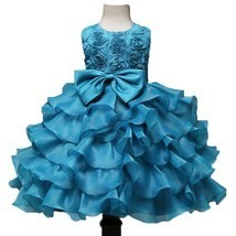 Toddler Infant Party Ball Gown Sky blue Dress for Baby Girl Birthday Dre... - £47.94 GBP