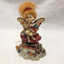 """Patchwork Figurine Figure 5.5"""" tall Angel with Bear  & Wings - $7.52"""