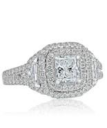 1.47 Ct Halo Radiant Cut Cadillac Side Diamond Engagement Ring 14k White... - $2,503.25