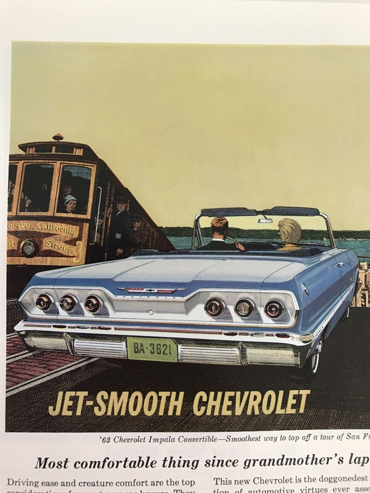 Primary image for Jet Smooth Chevrolet Vtg 1963 Print Ad Convertible San Francisco