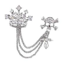 Crown and Bones Pattern with Chain and Rhinestone Decoration Brooch