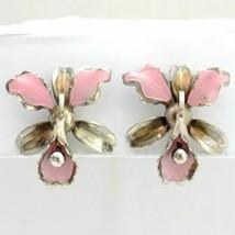 Vintage Silver Tone Pink Enamel Orchid Flower Screw Back Earrings - $8.90