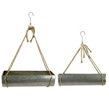 Set/2 Hanging Planter Galvanized Metal Rope Pot Plants Planters with Hooks - $98.95