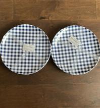 Tommy Bahama MELAMINE Dinner Plates Blue White Gingham NEW Set of 8 Plaid - $48.19