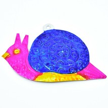 Hand Painted Folk Art Snail Punched Tin Ornament Made in Mexico image 1