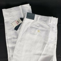 Perry Ellis White Dress Pants Linen Tag 40x32 Actual 41 x 32 Flat Front ... - $54.95