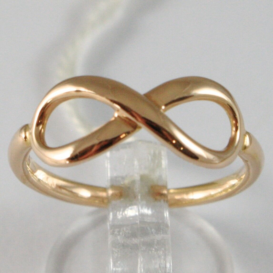 Pink gold Ring 750 18k, Infinity Symbol, Made in Italy