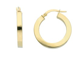 18K YELLOW GOLD CIRCLE EARRINGS DIAMETER 15 MM WITH SQUARE TUBE   MADE IN ITALY image 1