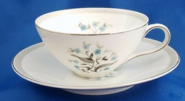 Meito Orleans Tea Cup and Saucer Turquoise Floral w Gray Band Platinum 6 oz - $7.92