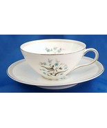 Meito Orleans Tea Cup and Saucer Turquoise Floral w Gray Band Platinum 6 oz - $6.34