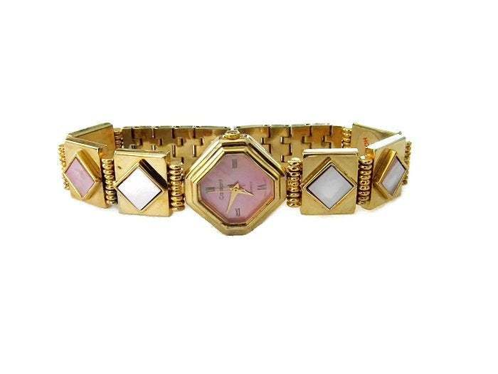 Primary image for Vintage Gold Tone Quart Watch with Pink Shell Inlay