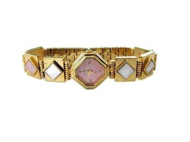 Vintage Gold Tone Quart Watch with Pink Shell Inlay - $28.17