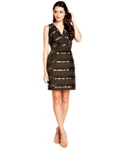 MAX AND CLEO Brown Satin Stripe Fitted Sheath Sleeveless Cocktail Dress ... - $31.84
