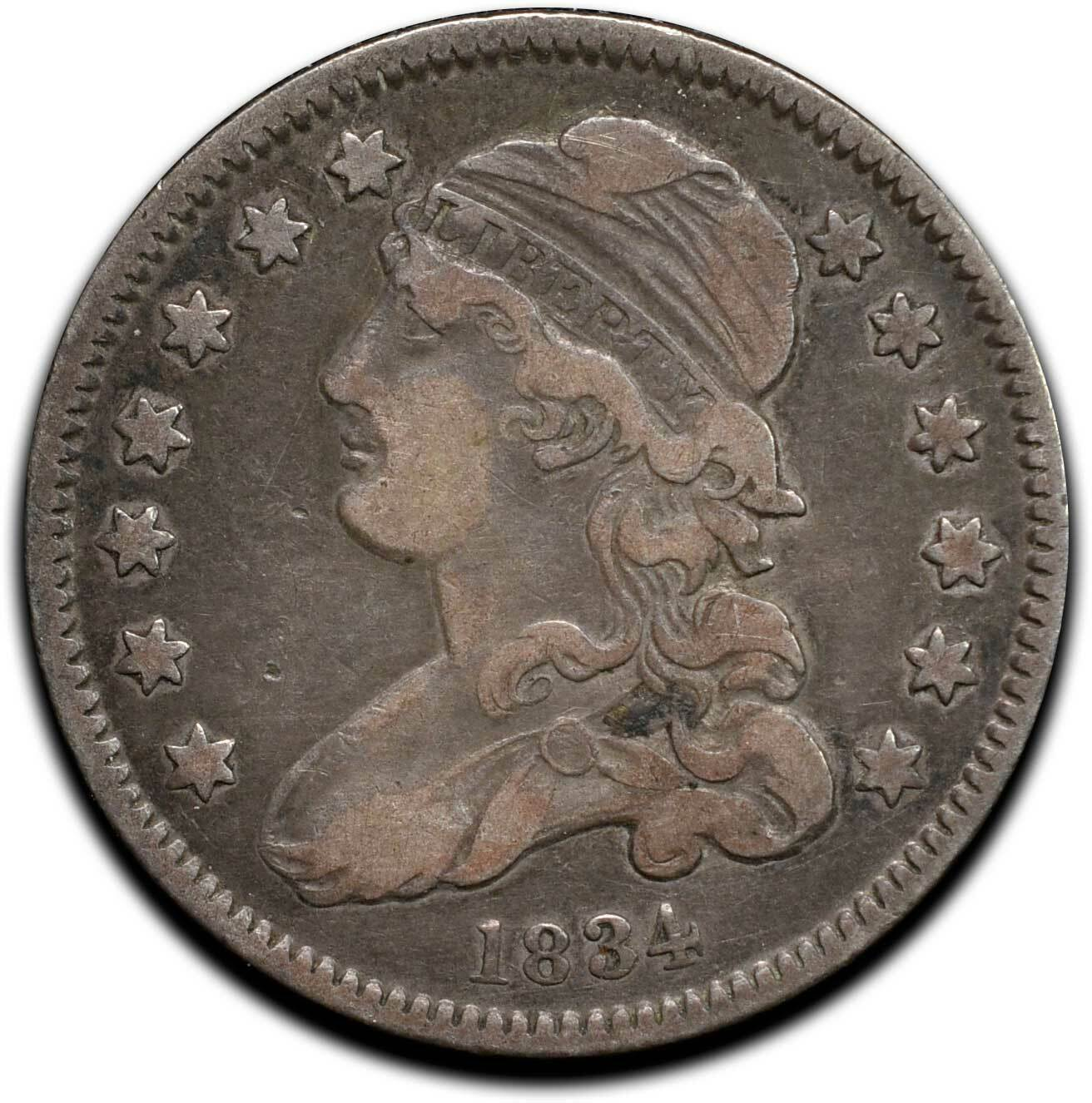 1834 Capped Bust Silver 25¢ Quarter Coin Lot# A 512