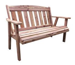 Offex 4' Natural Cedar Pattern Outdoor Bench - Brown - $235.95
