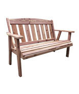 Offex 4' Natural Cedar Pattern Outdoor Bench - Brown - £181.35 GBP
