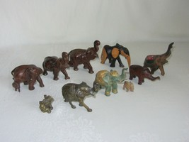 Lot of 10 Vtg Elephant Figurines Carved Wood w Baby Brass Green Gold - $49.49