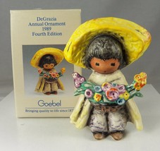 TED DEGRAZIA Signed 1989 Boy with Flowers Ornament GOEBEL Porcelain in Box - $42.81
