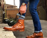 Handmade men tan ankle boots  wingtip lace up boots for denim pants  dress boots thumb155 crop