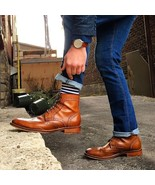 Tan Color Handmade High Ankle Magnificiant Customized Leather Lace Up Boots - $149.90+
