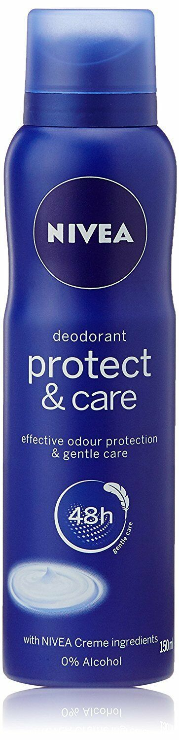NIVEA PROTECT AND CARE DEODORANTS 0%ALCOHAL WITH 48 Hour Protection