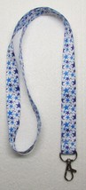 White with 2 Blue Color STARS LANYARD KEY CHAIN Ring Keychain ID Holder NEW - $9.99